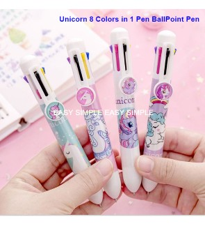 [Ready Stock] 8 Colors in 1 Cute Cartoon Stationery Ballpoint Pen Kids Unicorn